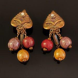 ✨Stunning VTG Beads Clip On Earrings